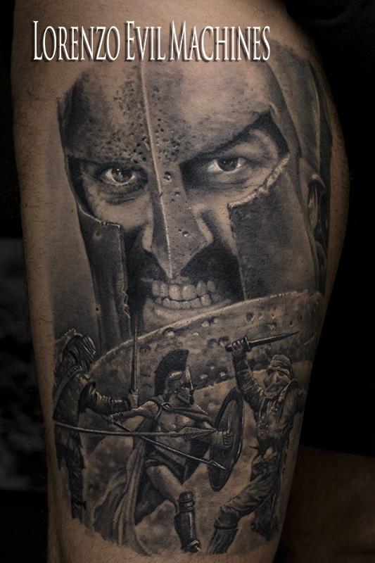 300_Leonida_Spartan_black_grey_Lorenzo_Evil_machines_realistic_tattoo_tatuaggi_realistici_Roma_tatuatore_sito_best_migliore