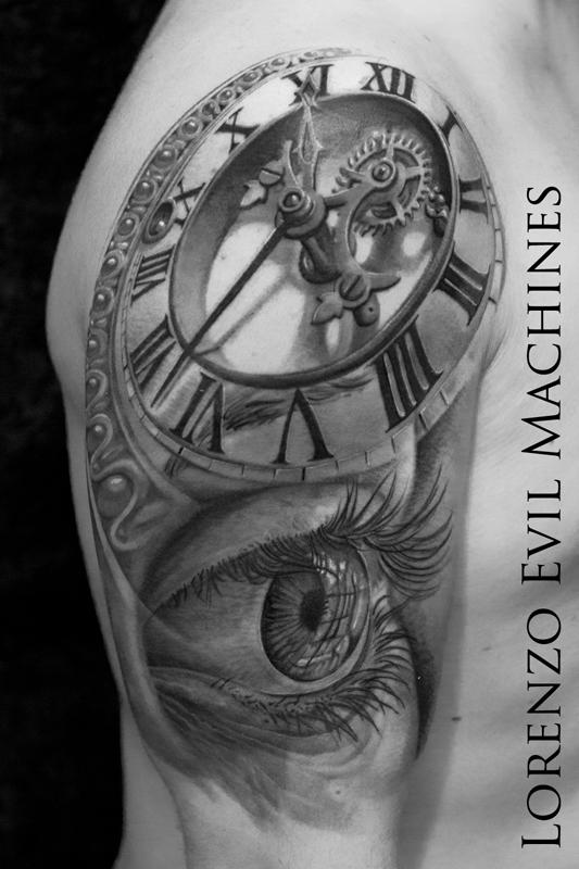 Occhio_orologio_eye_watch_lorenzo_evil_machines_tattoo_tatuaggio_realistico_roma_sito_best_migliore