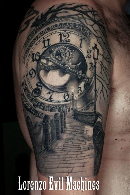 Orologio_road_alley_watch_gothic_night_Lorenzo_tatuatore_Evil_Machines_realistic_tattoo_tatuaggi_realistici_3d_Roma_ritratti_sito_best_migliore
