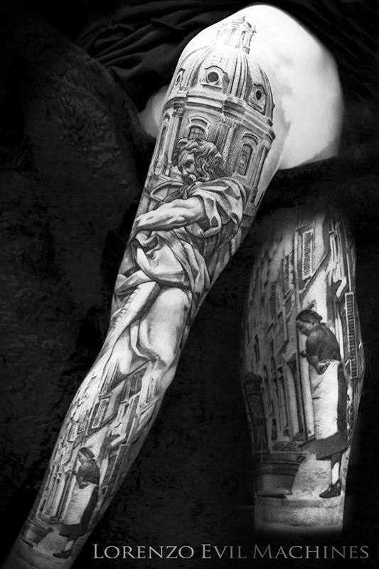 Roma_Rione_Monti_cupola_san_matteo_borgo_fontanella_black_gray_Lorenzo_Evil_Machines_realistic_tattoo_tatuaggi_realistici_Roma_sito_best_migliore