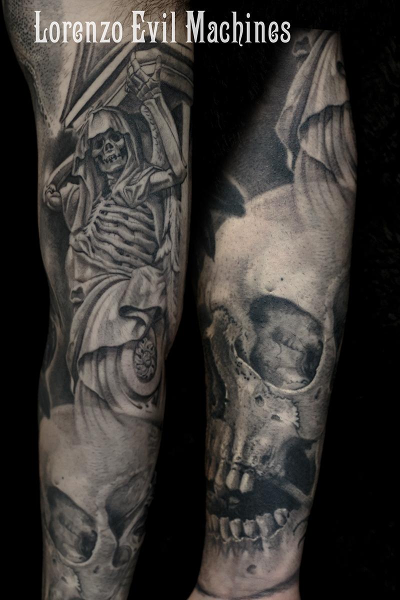 Skull_morte_angel_of_death_teschio_braccio_Lorenzo_tatuatore_Evil_Machines_realistic_tattoo_tatuaggi_realistici_3d_Roma_ritratti_best_migliore