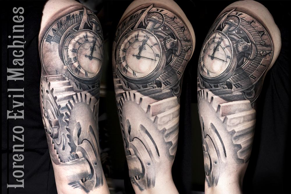 orologio_ingranaggi_watch_black_gray_sfumato_lorenzo_evil_machines_tattoo_tatuaggio_realistico_roma_sito_best_migliore