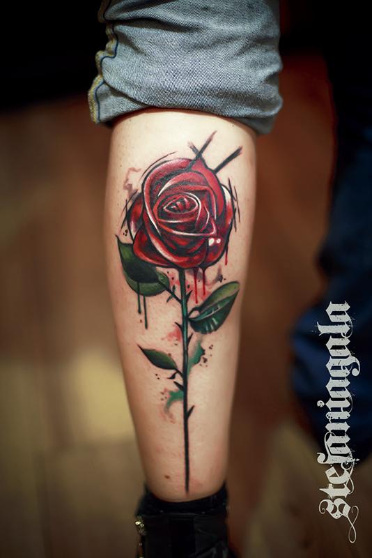 Rosa_Flower_Red_sketchwork_watercolor_schizzo_disegni_personalizzati_avanguarde_Stefania_Gala_Evil_Machines_Tattoo_Roma_best_migliore