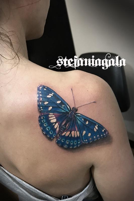 Farfalla_Silvano_azzurro_colori_3d_ombra_real_disegni_personalizzati_Stefania_Gala_Evil_Machines_Tattoo_Roma
