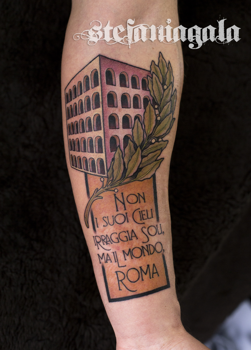 Roma_d'annunzio_gabriele_Colosseo_quadrato_palazzo_civiltà_colori_disegni_personalizzati_neo_new_traditional_Stefania_Gala_Evil_Machines_Tattoo_Roma_sito_best_migliore