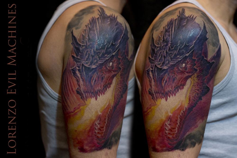 Drago_dragon_fantasy_fuoco_fire_Lorenzo_tatuatore_Evil_Machines_realistic_tattoo_tatuaggi_3d_Roma_ritratti_sito_best_migliore