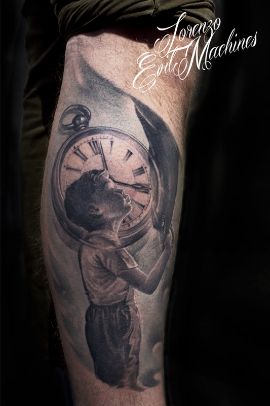 Father_son_child_orologio_pocketwatch_black_gray_white_lorenzo_evil_machines_tattoo_tatuaggio_realistico_3d_Roma_sito_best_migliore