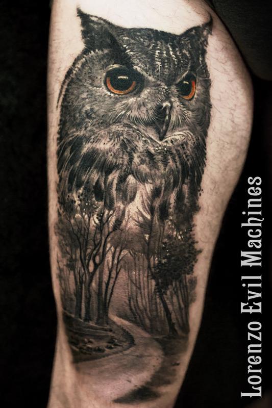 Gufo_Owl_black_gray_animali_natura_civetta_Lorenzo_Evil_Machines_tattoo_Tatuaggi_realistici_Roma_3d_ritratti_sito_best_migliore