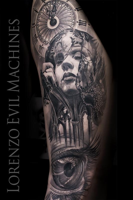 Occhio_donna_orologio_eye_watch_woman_gothic_Architecture_lorenzo_evil_machines_tattoo_tatuaggio_realistico_3d_roma_sito_best_migliore