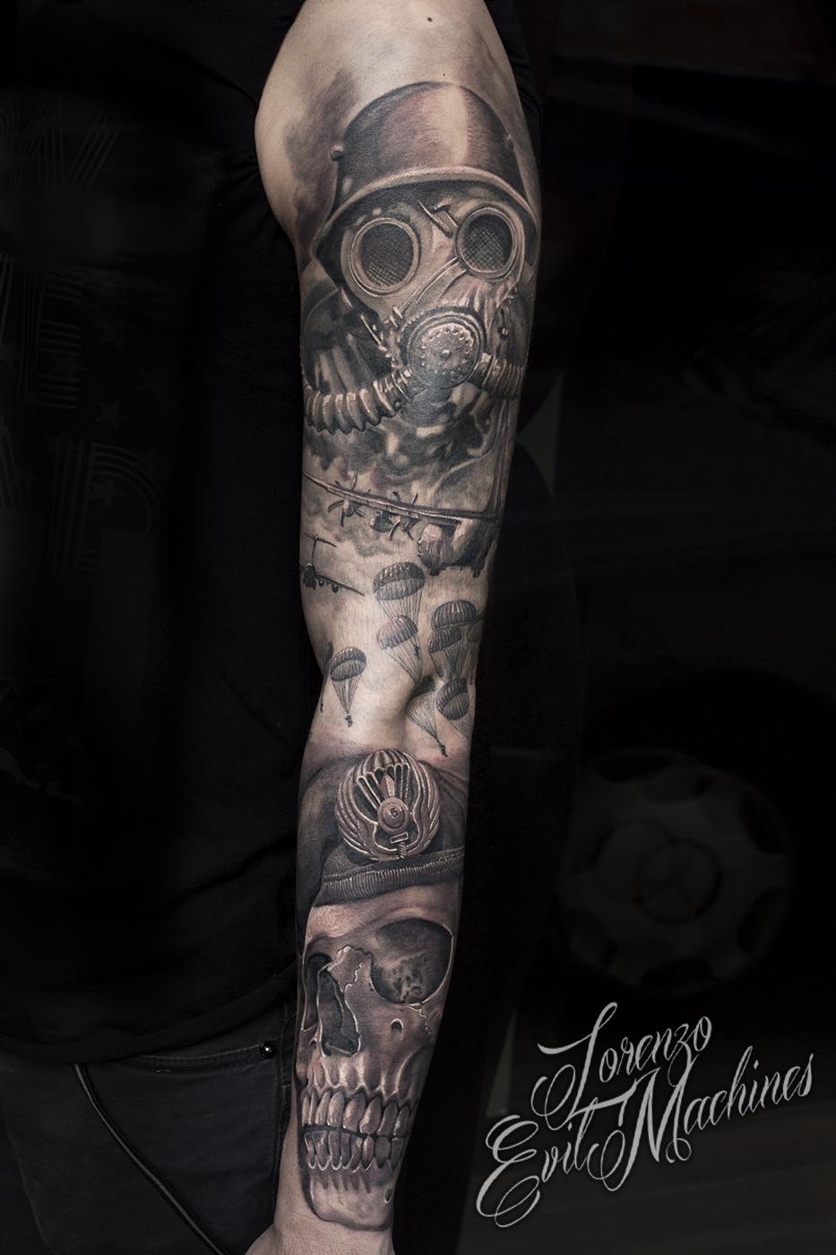 Parà_teschio_antigas_black_and_gray_Lorenzo_Evil_Machines_Tattoo_tatuaggi_realistici_Roma_sito_best_migliore