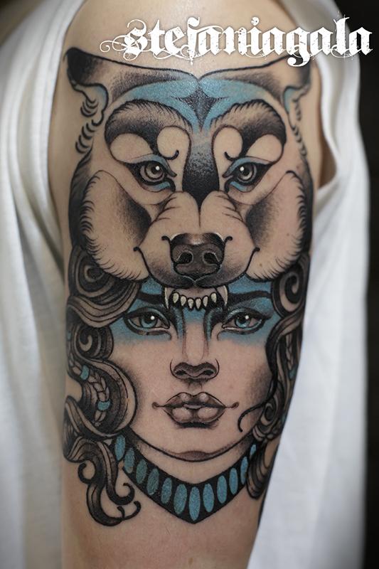 Donna_Lupo_disegni_personalizzati_neo_new_traditional_Stefania_Gala_Evil_Machines_Tattoo_tatuaggi_Roma_tatuatore_best_migliore