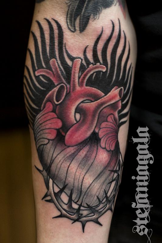 Cuore_anatomico_spine_Heart_sacrocuore_Ex_voto_disegni_personalizzati_neo_new_traditional_Stefania_Gala_Evil_Machines_Tattoo_Roma_migliore_best