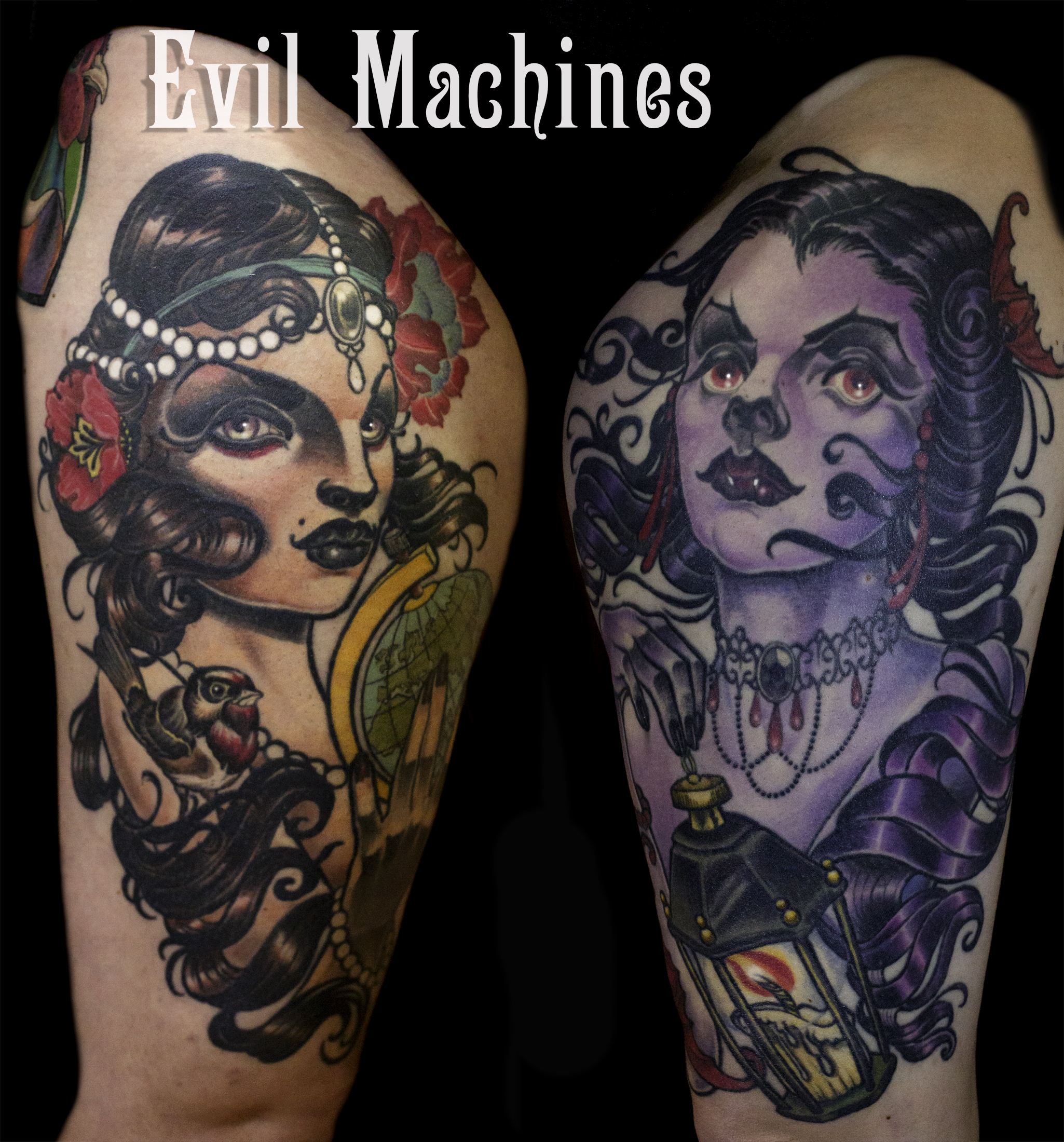 New_traditional_colore_vampira_vampire_globetrotter_beauty_donna_gipsy_Evil_Machines_stefania_lorenzo_tattoo_tatuaggi_Roma_sito_best_migliore