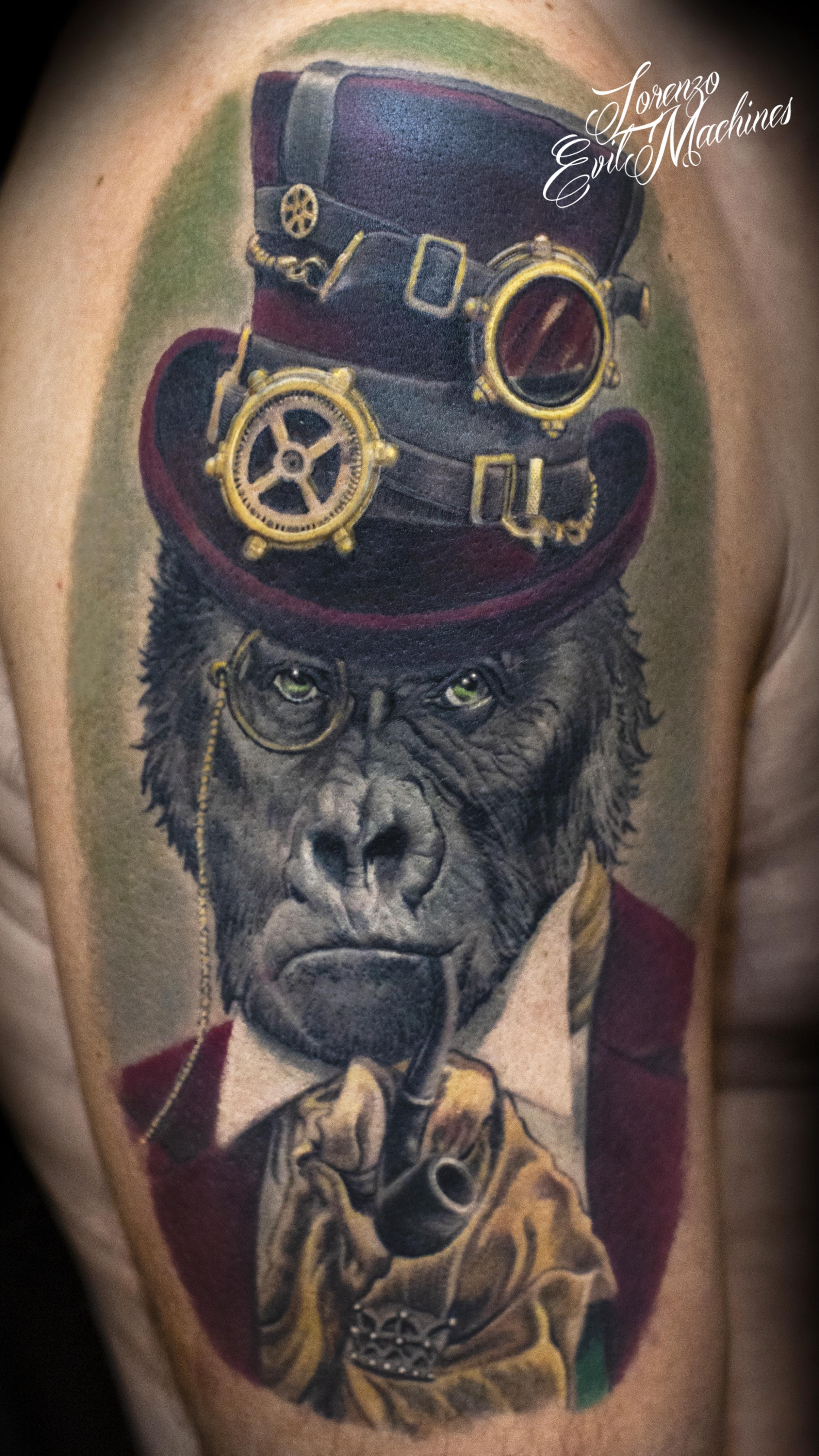 Gorilla_lord_steampunk_gentleman_Lorenzo_tatuatore_Evil_Machines_realistic_tattoo_tatuaggi_realistici_3d_Roma_miglior_migliore_ritratti_firma